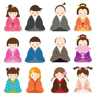 Vestido de personaje de dibujos animados japoneses en traje tradicional