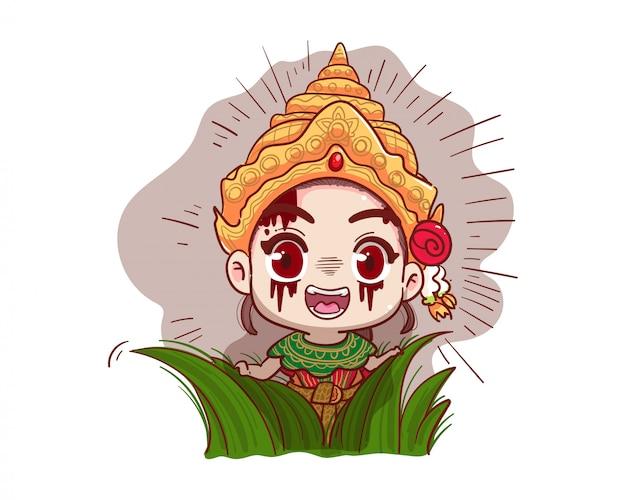 Vestido tradicional tailandés fantasma jugando al escondite o al escondite sobre fondo blanco con concepto de halloween aterrador.
