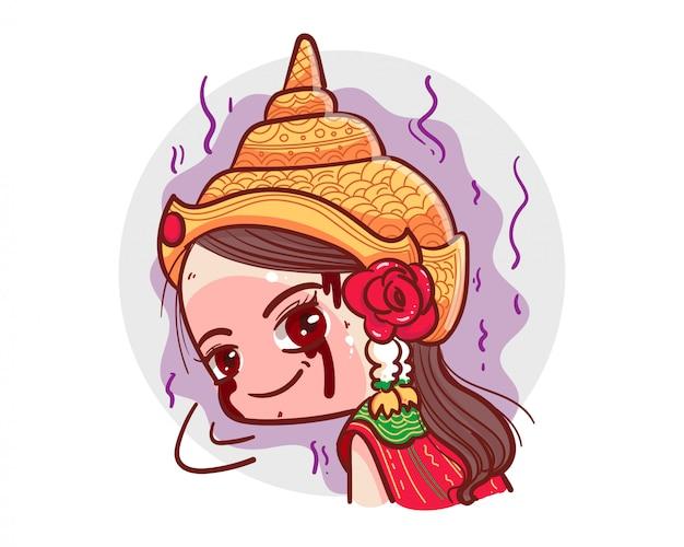 Vestido tradicional tailandés fantasma mirando y sonriendo sobre fondo blanco con concepto de halloween de miedo.