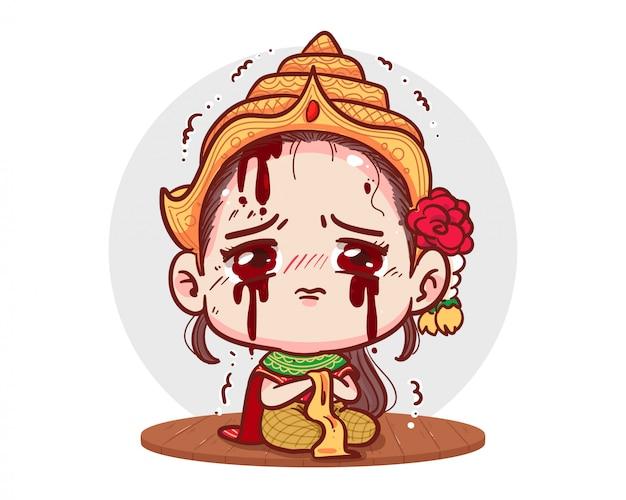 Vestido tradicional tailandés grito de fantasma o sentimiento de tristeza sobre fondo blanco con concepto de miedo de halloween.