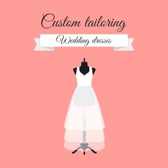 Vestidos de novia diseño de logotipo con maniquí.