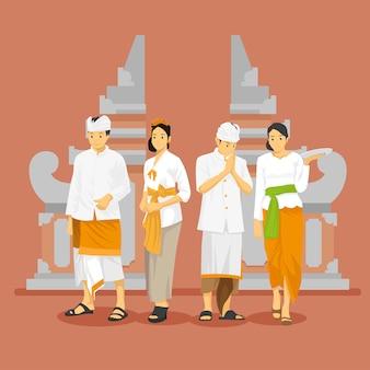 Vestimenta tradicional balinesa con puerta