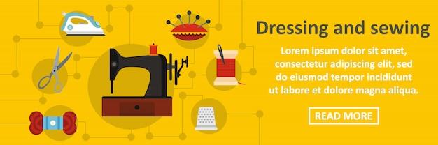 Vestir y coser banner concepto horizontal