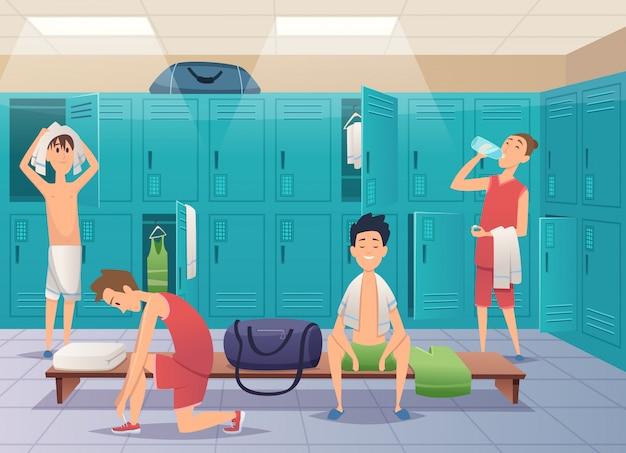 Vestuario escolar. armario de gimnasio deportivo con niños en el fondo de dibujos animados de la universidad
