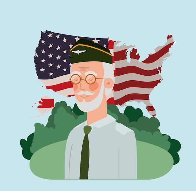 Veterano militar con bandera de estados unidos y mapa en el campo