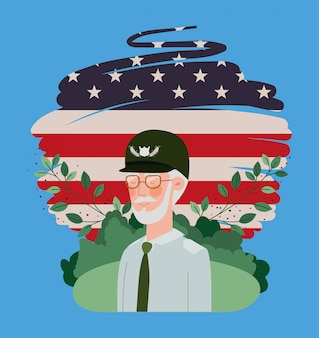 Veterano militar con bandera de estados unidos pintado en el campo
