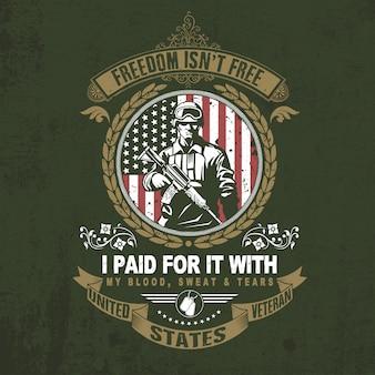 Veteranos diseño día de la independencia cotizaciones vector de tipografía