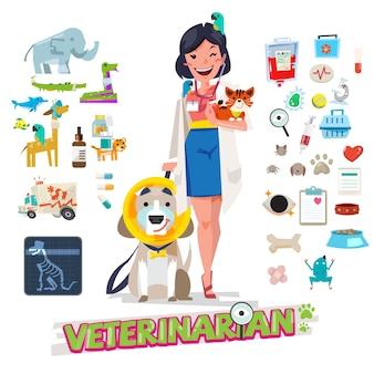 Veterinaria con mascotas. herramienta y equipo