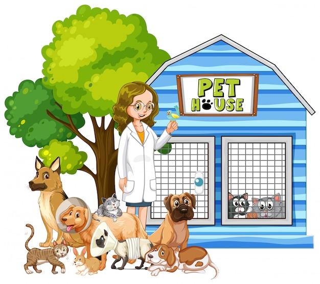 Veterinario y animales enfermos en casa de mascotas