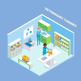 Veterinario armario interior plano isométrico