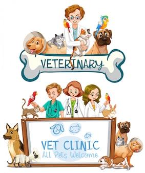 Veterinario clínica banner sobre fondo blanco