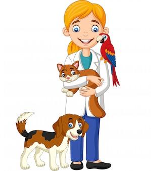 Veterinario femenino de dibujos animados examinando mascotas