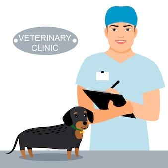 Veterinario y perro en mesa de examen en clínica veterinaria