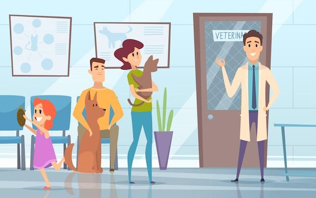 Veterinario profesional. mascotas con sus dueños en recepción en el fondo de la clínica veterinaria