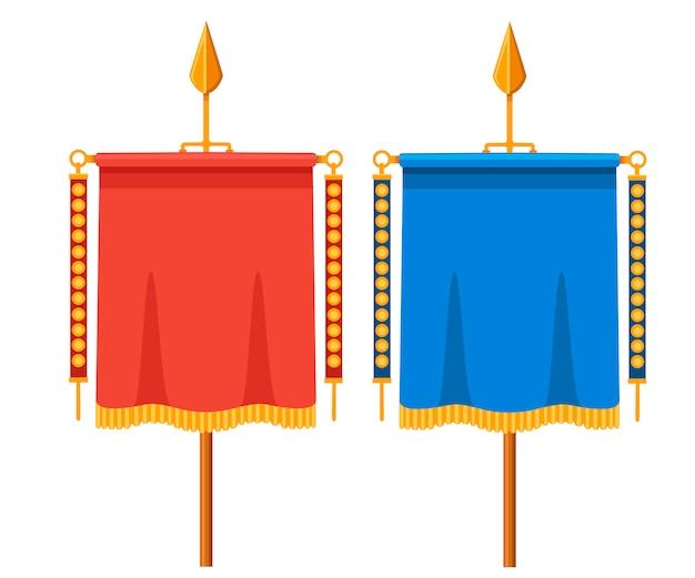 Vexillum romano rojo y azul. signa militaria. estándar romano antiguo. ilustración sobre fondo blanco