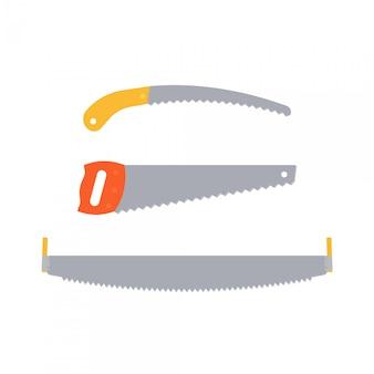 Vi el icono. . sierra de mano aislada. juego de sierra de mano. plano . herramientas de carpintería para reparación, construcción, carpintería, aserrado de estructuras y productos de madera. ilustración de dibujos animados