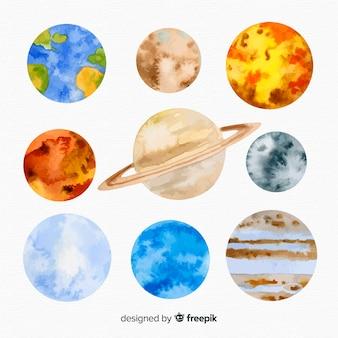 Vía láctea con planetas
