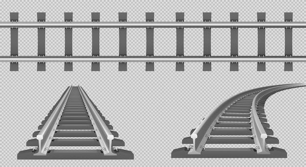 Vía de tren, ferrocarril recto y de giro en vista superior y en perspectiva