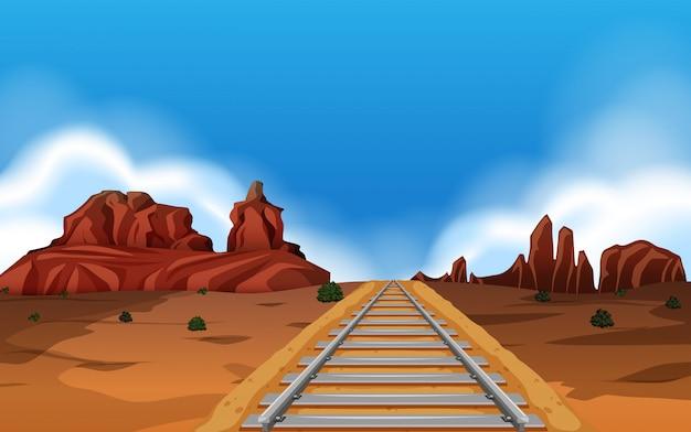 Vía del tren en el fondo salvaje oeste