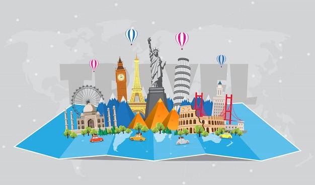 Viaja al mundo. viaje. gran conjunto de monumentos famosos del mundo. tiempo de viaje, turismo, vacaciones de verano.