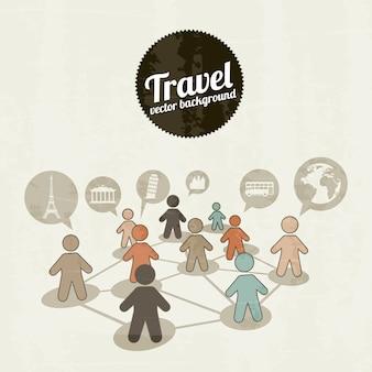 Viaja iconos sobre fondo vintage ilustración vectorial