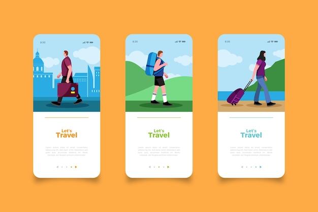 Viaja por el mundo pantallas de aplicaciones móviles
