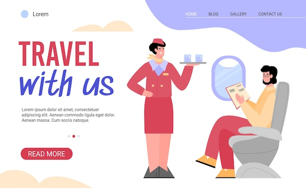 Viaja con nosotros a la página de inicio del sitio web de internet. auxiliar de vuelo a bordo que ofrece comida y bebida a los pasajeros del avión, fondo blanco de dibujos animados planos
