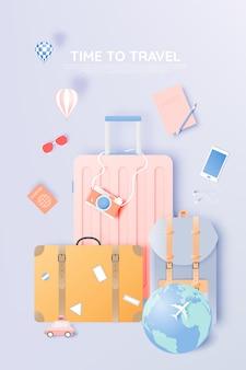 Viaja por varios artículos en papel estilo art