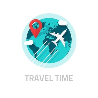 Viajando alrededor del mundo en avión ilustración en blanco
