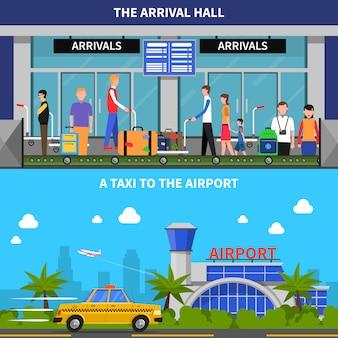 Viajando en avión banners set