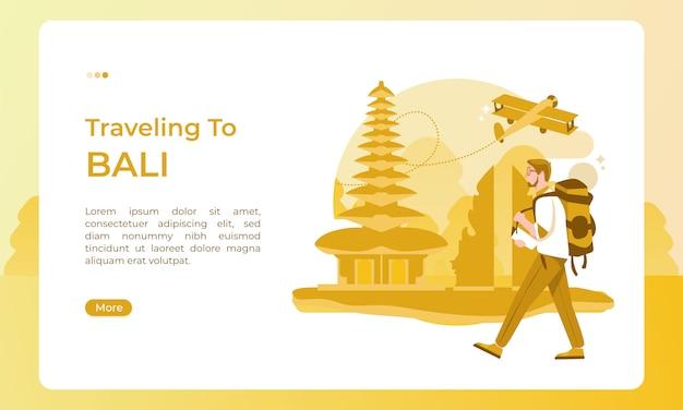 Viajando a bali, indonesia, ilustrado con un tema de vacaciones para un día de turismo