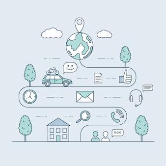 Viajando en coche ilustración de contorno de dibujos animados. mapa de ruta y ruta de viaje, diseño de línea de tiempo de carretera sinuosa.