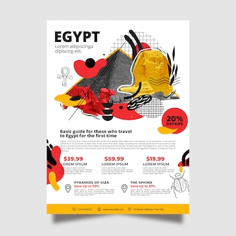 Viajando a egipto plantilla de póster de papelería vector gratuito