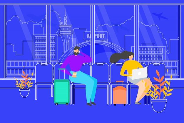 Viajando gente esperando vuelo en aeropuerto vector
