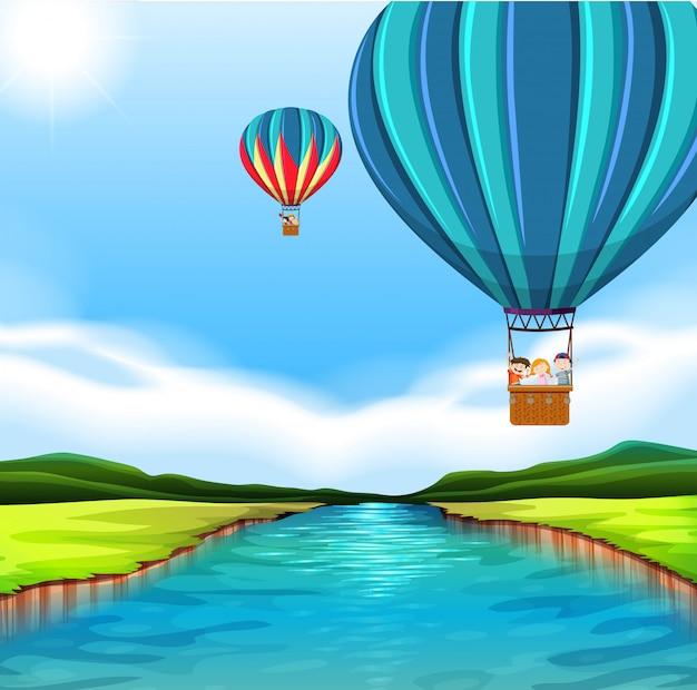 Viajando con globo aerostático.