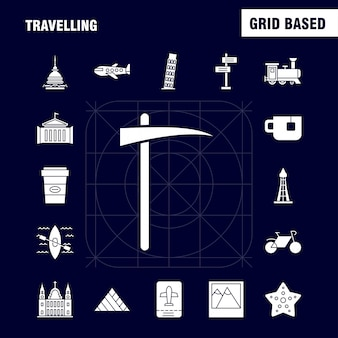 Viajando iconos de glifos sólidos