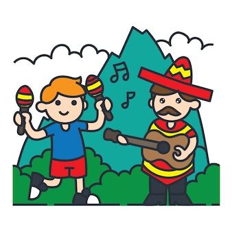 Viajando en la ilustración de dibujos animados de américa del sur. cantando y tocando música en méxico