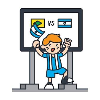 Viajando en la ilustración de dibujos animados de américa del sur. fanático del fútbol de argentina