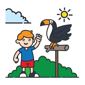 Viajando en la ilustración de dibujos animados de américa del sur. tomar foto con el pájaro tucán