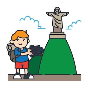 Viajando en la ilustración de dibujos animados de américa del sur. viajar en brasil