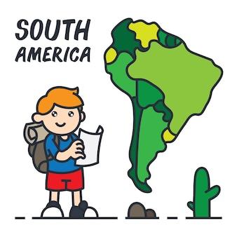 Viajando en la ilustración de dibujos animados de américa del sur.