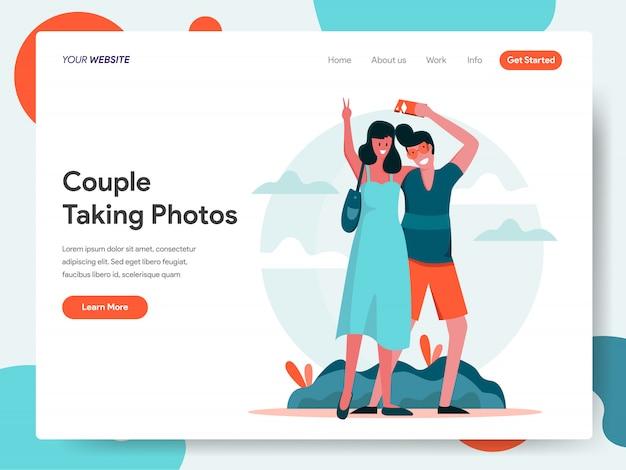 Viajando pareja tomando fotos juntos banner para página de inicio