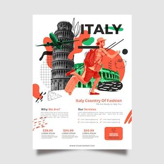 Viajando a la plantilla de póster de papelería de italia