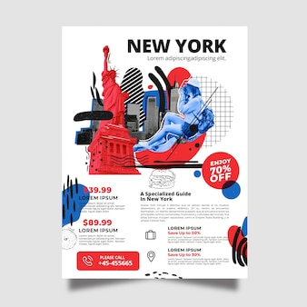 Viajando a la plantilla de póster de papelería de nueva york
