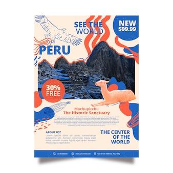 Viajando a la plantilla de póster de papelería de perú