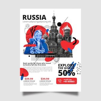 Viajando a la plantilla de póster de papelería de rusia