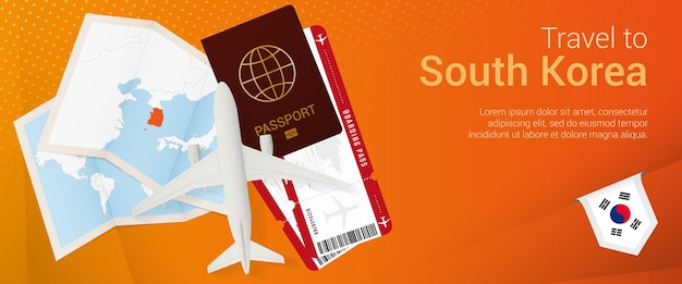 Viajar al banner pop-under de corea del sur. banner de viaje con pasaporte, boletos, avión, tarjeta de embarque.