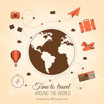 Viajar alrededor del mundo con elementos vintage