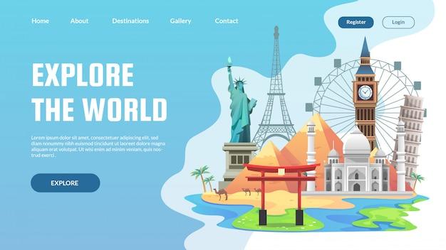 Viajar alrededor del mundo plantilla de diseño web