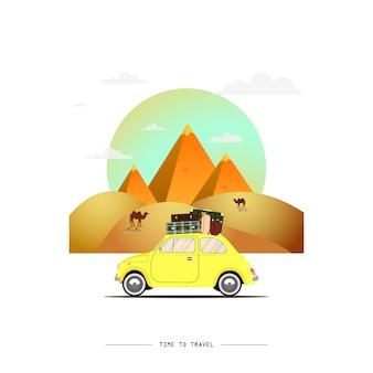 Viajar en automóvil. viaje. tiempo de viaje, turismo, vacaciones de verano. grandes pirámides egipcias en el desierto. ilustración de diseño plano
